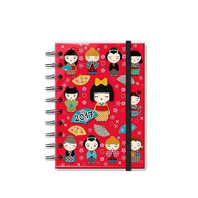 Agenda Pequena Kokeshi Vermelha 2017