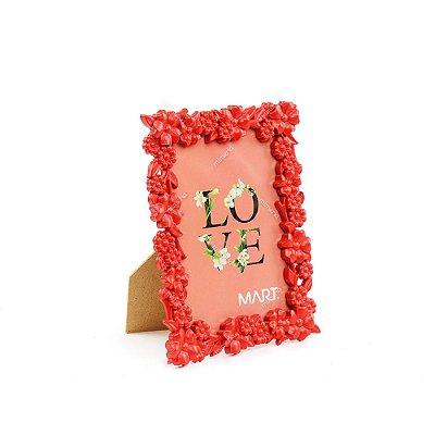 Porta Retrato Floral Vermelho 10x15