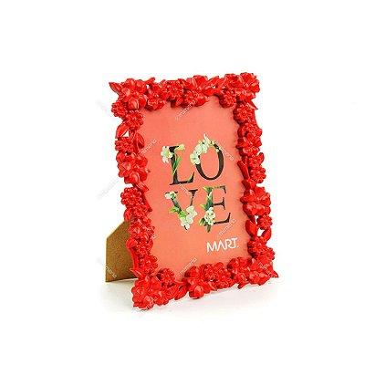 Porta Retrato Floral Vermelho 13x18