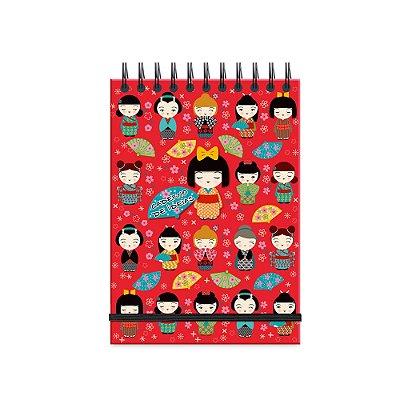 Caderno de Ideias Kokeshi Vermelha