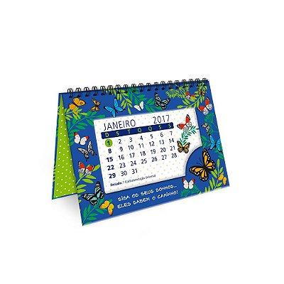 Calendário de Mesa Decorado Borboletas no Jardim 2017