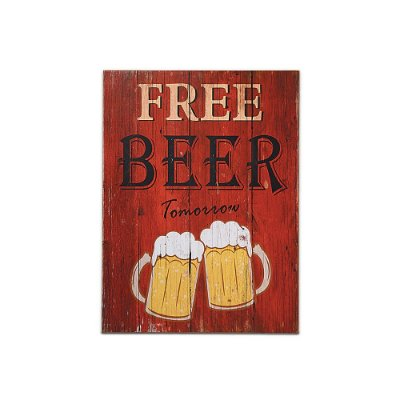 Placa Decorativa de Madeira Free Beer 30x40