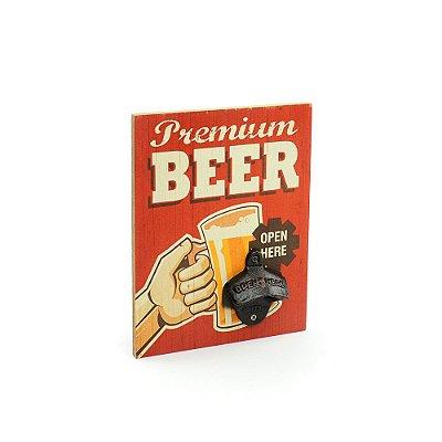 Placa em Madeira Abridor de Garrafa Premium Beer