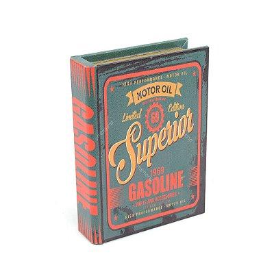 Livro Caixa Pequeno Decorativo Motor Oil Verde Retrô