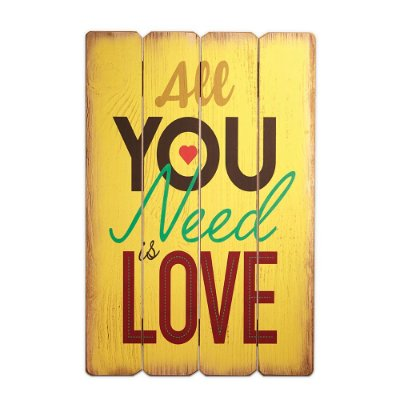 Placa Decorativa de Madeira All You Need Is Love Amarela 40x60