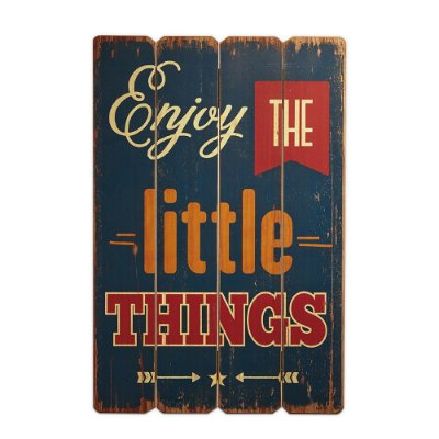 Placa Decorativa de Madeira Enjoy The Little Things 40x60