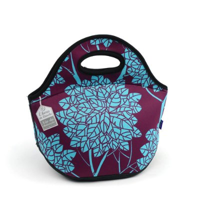 Lancheira Neoprene Folha Chá Azul e Roxa