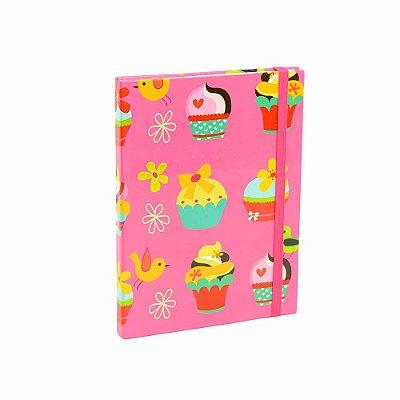 Caderno Médio Capa Dura com Elástico Cupcake