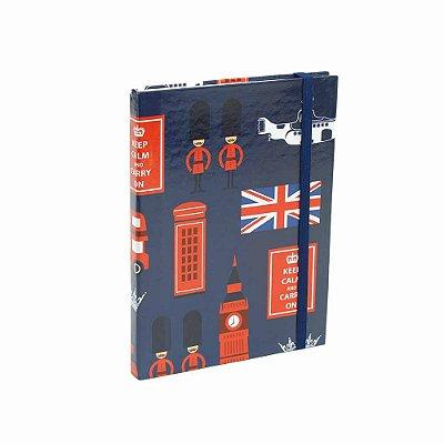 Caderno Médio Capa Dura com Elástico London