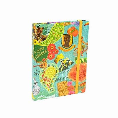 Caderno Médio Capa Dura com Elástico Povo Unido