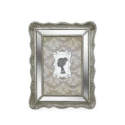 Porta Retrato de Resina Espelhado Prata 10x15
