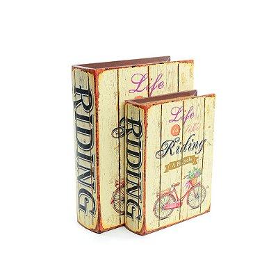 Conjunto 2 Livros Caixa Decorativos Bicycle