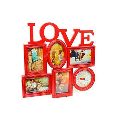 Porta Retrato Vermelho Love - 6 fotos
