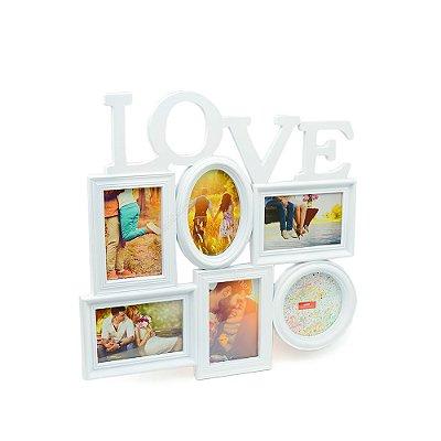 Porta Retrato Branco Love - 6 fotos