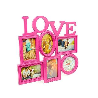 Porta Retrato Rosa Love - 6 fotos