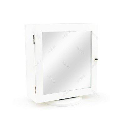 Espelho de Mesa Porta Jóias Dupla Face Branco