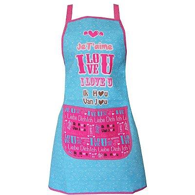 Avental de Cozinha Love Azul