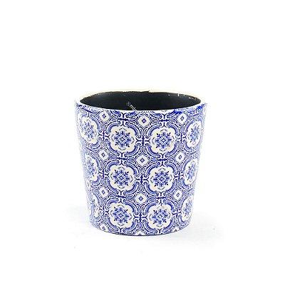 Cachepô de Cerâmica Médio Azulejo Português Azul
