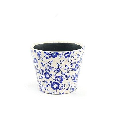 Cachepô de Cerâmica Pequeno Floral Azul