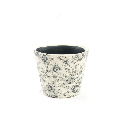 Cachepô de Cerâmica Pequeno Floral Preto