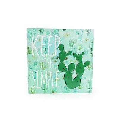 Quadro em Canvas Cactos Keep Life Simple