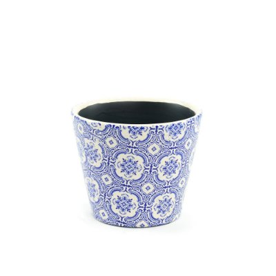 Cachepô de Cerâmica Pequeno Azulejo Português Azul