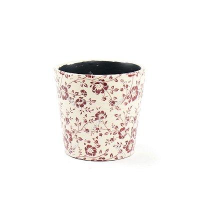 Cachepô de Cerâmica Médio Floral Marsala