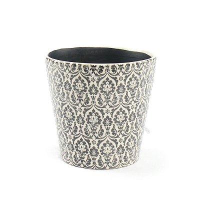 Cachepô de Cerâmica Grande Marroquino Preto
