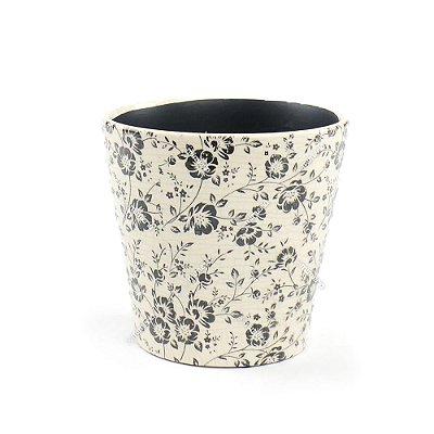 Cachepô de Cerâmica Grande Floral Preto