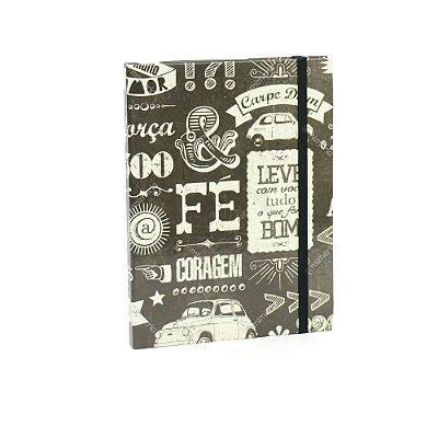 Caderno Médio Capa Dura com Elástico Estilo 500