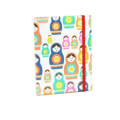Caderno Médio Capa Dura com Elástico Matrioskas Coloridas