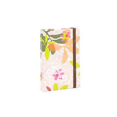 Caderninho Capa Dura com Elástico Floral Borboleta