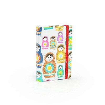 Caderninho Capa Dura com Elástico Matrioskas Coloridas