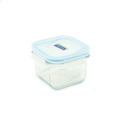 Pote de Vidro Refratário Hermético Quadrado 210 ml