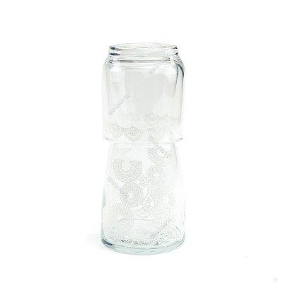 Moringa de Vidro Crochet Branca 500ml
