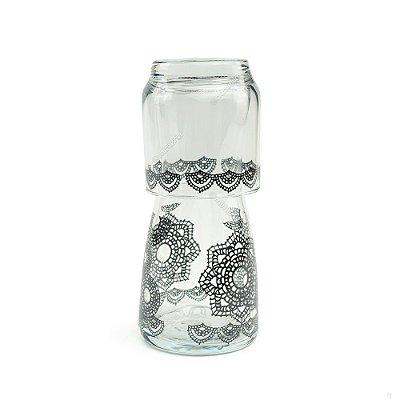 Moringa de Vidro Crochet Preta 500 ml