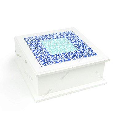 Caixa de Chá MDF Azulejo Português Azul