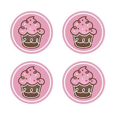 Porta Copo Silicone Cupcake 4 peças