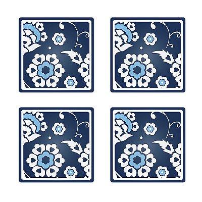 Porta Copo Silicone Azulejo Português 4 peças