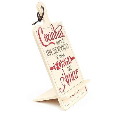 Tábua de Apoio para Livro e Tablet Cozinhar e Amar