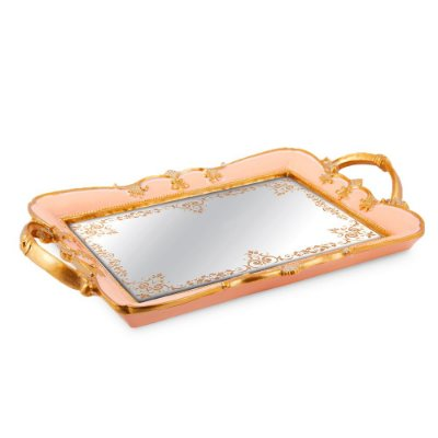 Bandeja em Resina com Espelho Rosa Grande
