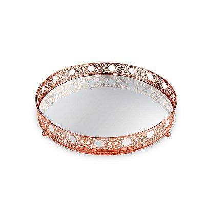 Bandeja em Metal Redonda com Espelho Cobre Ornamentada Grande