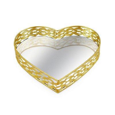 Bandeja em Metal Coração com Espelho Dourada Grande