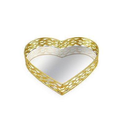 Bandeja em Metal Coração com Espelho Dourada Média