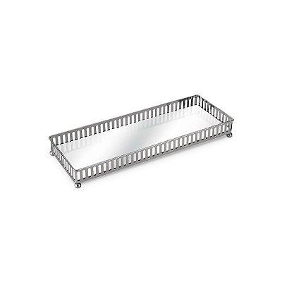 Bandeja em Metal Retangular com Espelho Prata Pequena