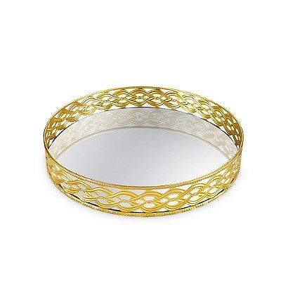 Bandeja em Metal Redonda com Espelho Dourada Trançada Grande