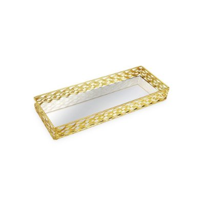 Bandeja em Metal Retangular com Espelho Dourada Trançada Pequena