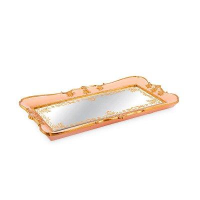 Bandeja em Resina com Espelho Rosa Pequena