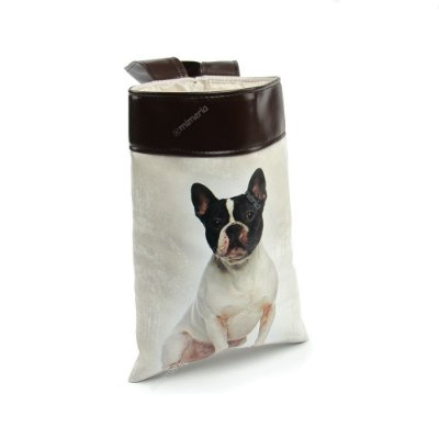 Lixeira de Carro Cachorro Bulldog Francês Preto e Branco
