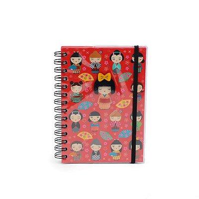 Caderno Médio Decorado Kokeshi
